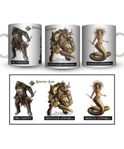 Kubek biały z 3 kolorowymi grafikami: Orka Nizinnego, Minotaura, Meduzy