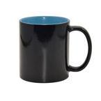 Kubek Magiczny czarny z błękitnym wnętrzem z Synchronicznym Miastem Archonów
